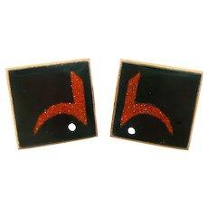 BIG Vintage 1960s 70s Handmade Copper Enamel Abstract Modernist Design CUFFLINKS