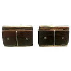 BIG 1950s Signed Taxco Mexico Handmade Sterling Silver & Wood Modernist CUFFLINKS