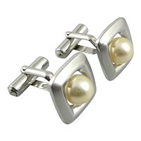 EXQUISITE Vintage 1960s 70s JAPAN Handmade Sterling Silver & Cultured Pearl Modernist CUFFLINKS