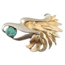 Vintage 1930s 40s Art Deco Chinoiserie Two Tone Gilt Sterling Silver & Turquoise EAGLE Design Brooch PIN