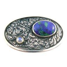 EXQUISITE 1996 Brian Hackett Doolin Ireland Handmade Sterling Silver 14K Gold Azur Malachite & Moonstone Modernist Brooch PIN