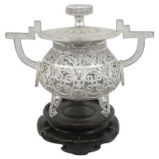 RARE Vintage 1940s 50s Handmade Chinese Republic Era Export Silver Filigree LIDDED CENSER on Carved Wood Base