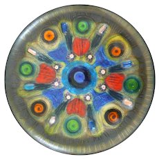 RARE 1952 Doris Hall One of a Kind Handmade Copper Enamel Abstract Modernist Round Tray PLATE