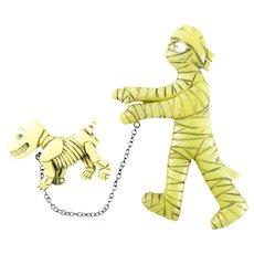 HUGE Brad Elfrink Handmade Carved Painted Bakelite Halloween Spooktacular Googly-Eyed MUMMY Walking his SKELETON DOG Double Brooch PIN