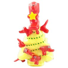 BIG Signed Gary Paul USA Contemporary Handmade Carved & Painted Bakelite Whimsical XMAS Tree with Dogs Brooch PIN