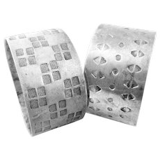 PAIR One of a Kind 1960s 70s Dieter Muller-Stach Handmade Sterling Silver Modernist NAPKIN RINGS