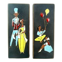 PAIR Signed 1950s 60s West Germany Handmade Ceramic Modernist Figures Design Wall Panel ARTWORKS
