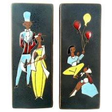 PAIR Signed 1950s 60s West Germany Handmade Ceramic Modernist Figures Design Wall Panel ARTWORKS