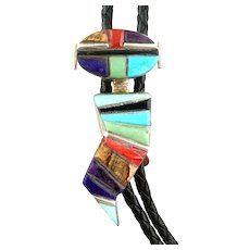 BIG Vintage 1980s 90s Edison YAZZIE Navajo Handmade Sterling Silver Turquoise Opal Lapis Coral & Charoite Modernist BOLO TIE