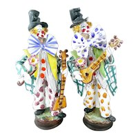 PAIR of Rare 1950s 60s Perconte Sciacca Italy Handmade Ceramic CLOWN Minstrel Figures Statues SCULPTURES