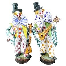 PAIR of Rare 1950s 60s Perconte Sciacca Italy Handmade Ceramic CLOWN Minstrel Figures Statues SCULPTURES