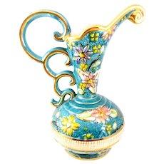 FLAMBOYANT 1950s 60s Henri Bequet Quaregnon Belgium Hand Painted Art Pottery Vase Ewer PITCHER