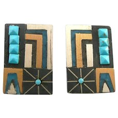 SUPERB Vintage 1950s 60s TONO Taxco Mixed Metals Sterling Turquoise Onyx Mexican Modernist Pierced EARRINGS