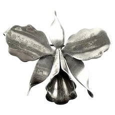 Vintage 1940s HECTOR AGUILAR Handmade 940 Sterling Silver Floral ORCHID Design Brooch PIN