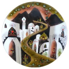 BIG 1960s 70s Agi Vardi Israel Handmade Copper Enamel Modernist Middle Eastern Townscape Design Wall-Mounted ARTWORK