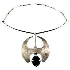 BIG Vintage 1950s 60s Signed MASAGO Handmade Sterling Silver & Black Onyx Modernist Pendant NECKLACE
