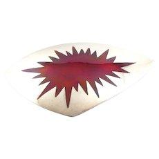 BIG Vintage 1960s 70s SIGNED Denmark Handmade Sterling Silver & Red Enamel Pop Art Modernist Brooch PIN