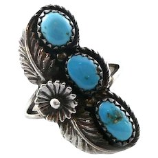 HUGE Vintage 1970s 80s SIGNED Native Tribal Handmade Sterling Silver & Turquoise Cocktail RING Size 9.5