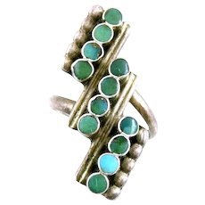 BIG Vintage 1940s 50s Native Zuni Handmade Sterling Silver & Turquoise Geometric Design RING Size 7