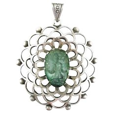 HUGE Rare Vintage 1940s 50s Los Ballesteros Taxco Handmade Sterling Silver & Carved Malachite Mexican FACE Design PENDANT