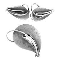 BIG Vintage 1950s Germany Handmade Sterling Silver Modernist LEAVES Design Brooch Pin & Earrings SET