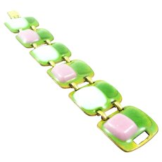LOVELY Vintage 1960s Kaye DENNING Handmade Copper Enamel Vividly Colored Modernist Link BRACELET