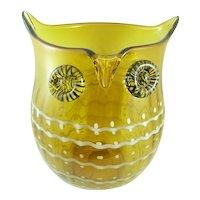 BIG Vintage 1960s 70s Hand Blown Murano Italy Art Glass Modernist OWL Design VASE