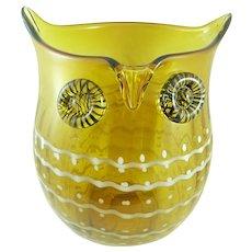 BIG Vintage 1970s Blenko Art Glass Modernist OWL Design VASE