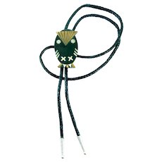 RARE 1950s 60s TONO of Taxco Handmade Mixed Metals Sterling Silver Brass Black Onyx & Turquoise Modernist OWL Design BOLO TIE