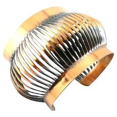 HUGE Vintage 1930s 40s Art Deco to Modernist Francisco REBAJES NYC Handmade Copper JAPANESE LANTERN Design BRACELET