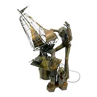 BIG 1960s 70s One of a Kind Hand Fabricated Forged Metal 'Sculptor making a Sculpture' Modernist Figural SCULPTURE