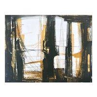 ORIGINAL 1950s 60s Terry HAASS Color Etching Temple Deserte 59/60 Atelier Lacouriere Paris Color ETCHING