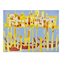 "ORIGINAL 1950s 60s Yves TREVEDY France Abstract Modernist Color Lithograph Signed Numbered Titled ""Venice"" ARTWORK"