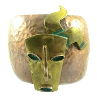 HUGE 1960s Casa Maya Mexico Handmade Mixed Metals Pre Columbian Figure Mask Design Cuff BRACELET