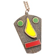 BIG Vintage 1950s Handmade Copper & Enamel Mid Century Modernist ROBOT FACE Pendant on Chain NECKLACE