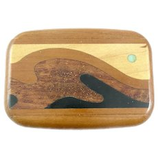 RARE 1960s 70s Signed Artisan Handmade Wood Inlaid Exotic Wood & Turquoise Abstract Modernist Sliding Top BOX