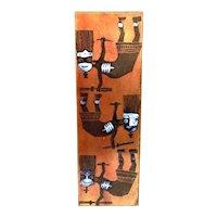 SUPERB 1960s Romolo Verzolini Pesaro Italy Handmade Copper Enamel Modernist Tribal Figures ARTWORK