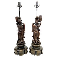 PAIR Rare Vintage 1930s 40s Chinese Hand Carved Wood Kwan Yin Guan Yin Table LAMPS