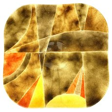 """HUGE 1960s 70s Arik Lenoy Israel One of a Kind Handmade Fused Art Glass Abstract Modernist TRAY - 17-5/8"""" square!"""