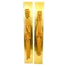 PAIR Monumental 1960s JARU California Hand Made Carved Wood on Brass Mounts Wall Hanging Artwork SCULPTURES