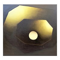 HUGE Original 1960s Signed D. Anderson Oil on Canvas Abstract Modernist Hard Edge Op Art PAINTING in Original Frame