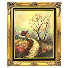 BIG 1960s 70s Signed KAYE Handmade Copper Enamel Impressionist Modernist Painting ARTWORK