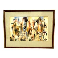 HUGE 1960s Katherine WENGI Oregon Watercolor on Paper PAINTING in the Original Wood Frame Under Glass