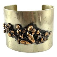 RARE One of a Kind 1940s 50s Ben Lorenz NYC Handmade Mixed Metals Abstract Modernist Design Cuff BRACELET