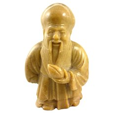 Vintage 1950s 60s Chinese Hand Carved Stone Wise Man Scholar Deity Miniature Figurine