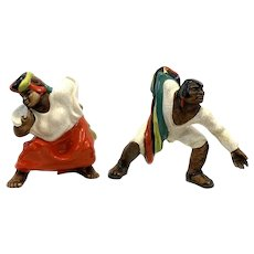 PAIR Rare 1940s 50s Ethnic Tribal Caribbean Handmade Ceramic Dancers FIGURES