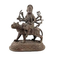 ANTIQUE Late 19th Early 20th Century India Handmade Bronze Multi Armed GODDESS DURGA on Tiger STATUE