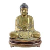RARE 1930s 40s Japanese Buddhist Polychrome Bronze Seated BUDDHA Statue on Carved Wood Base
