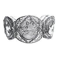 RARE Vintage 1920s 30s Egyptian Revival Handmade 800 Silver Filigree Panel Link BRACELET