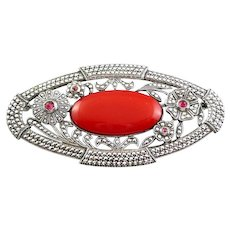 BIG Vintage 1920s 30s ART DECO Geometric Openwork Sterling Silver Marcasites & Ruby Red Glass Brooch PIN